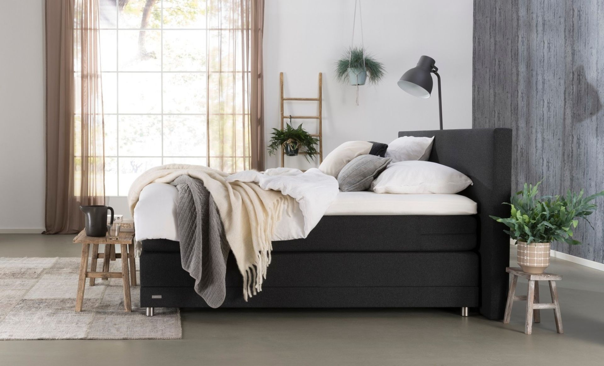 OptiSleep boxspring 1000 in Antraciet | pocketvering matrassen | recht hoofdbord
